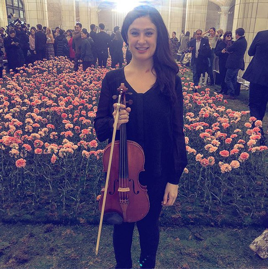 Performing in an orchestra at NY Fashion Week for Tory Burch