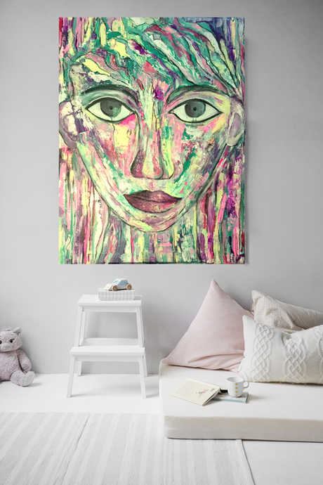 Colour woman in bedroom