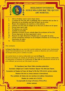 reglement école kung fu hoa-linh