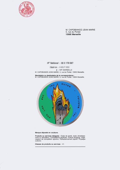 CERTIFICAT D'ENREGISTREMENT INPI du logo de l'Ecole HOA LINH