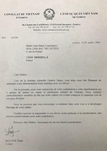 Lettre du consulat du Vietnam
