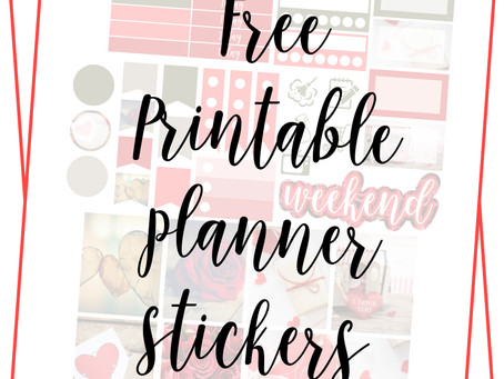 Free Printable Planner Stickers - Valentines Day