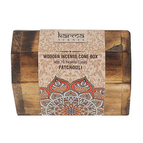Karma Patchouli Incense Cone Wooden