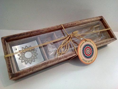 Karma Sandalwood Incense gift set in wooden box