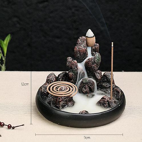 Rockery backflow incense holder