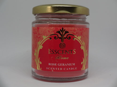 Rose Geranium Esscents Candle in Glass Jar