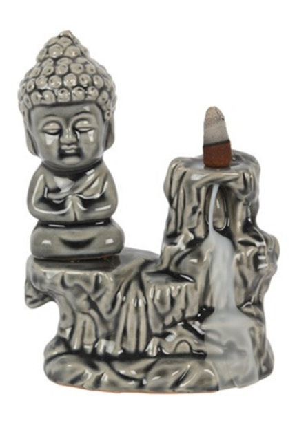 Sitting Buddha Backflow Burner Grey