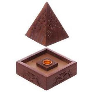 Wood Pyramid Incense Burner