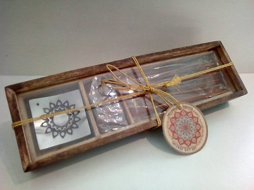 Karma Patchouli Incense gift set in wooden box