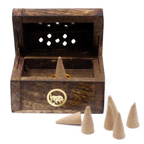 Mini Incense Cone Smoke Box - Mango Wood