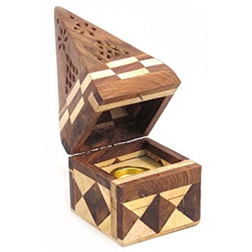 Sheesham Wood Pyramid Cone Burner