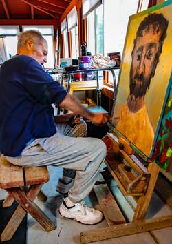 Studio working on The Rabboni, 2021