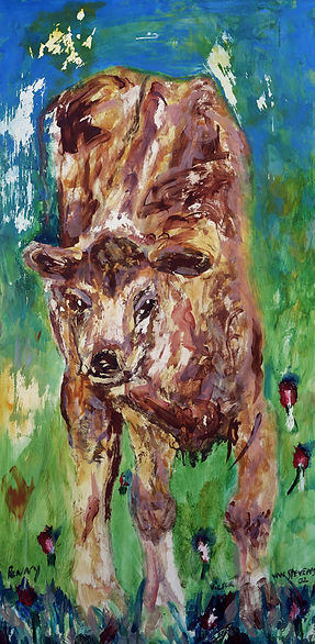 Penny, The Buffalo Calf, 2002, original acrylic SOLD,  Giclée prints available.