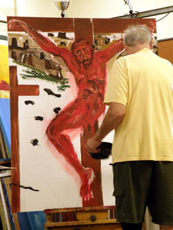 Studio, painting The Sin Eater