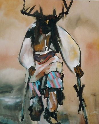 "Deer Dancer 2, 2002; 48"" x 60"", acrylic on canvas, Giclée prints available"