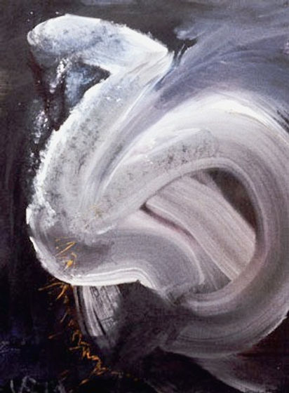 "Dragon Swan, 1974, 19"" x 22"", acrylic on canvas, Original and Giclée prints available"
