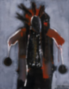 "Rattle Dancer, 1980, 38"" x 49"", acrylic on board. Original framed, under glass.  Original and Giclée prints available"