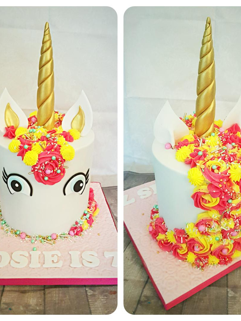 Unicorn Cake with Pink & Yellow Butter C