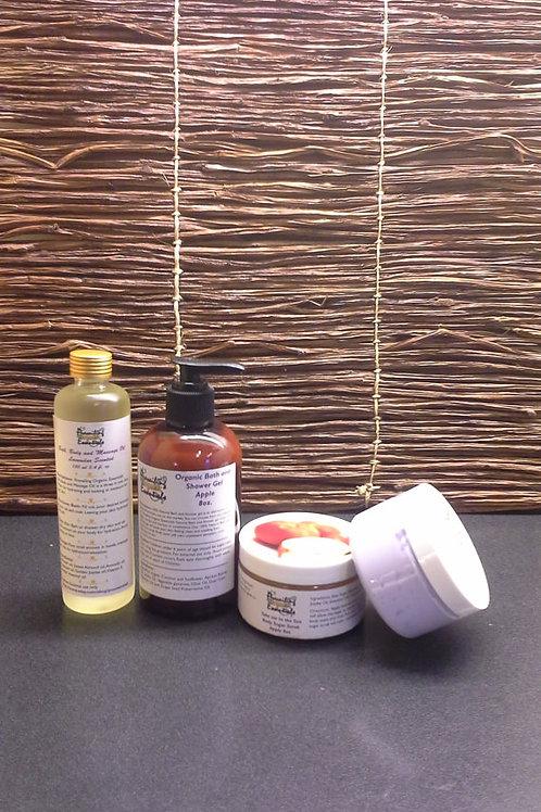 Organic Shower Gel Body Butter Scrub Bath Spa Set