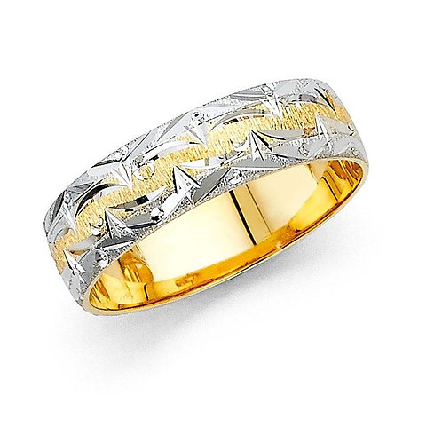 14k Two-tone Gold Ladies 6-mm Mountain Edge Design Easy-fit Wedding Band