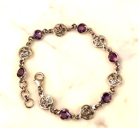 Pentacle Sterling Silver Bracelet with Faceted Amethyst