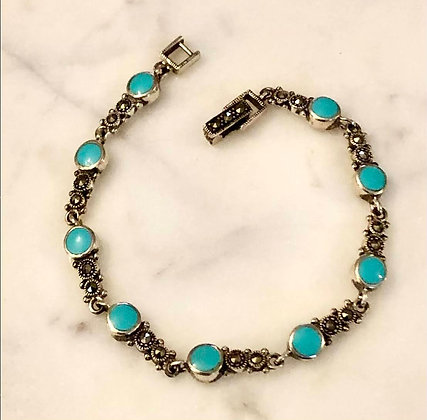 Turquoise with Marcasite Sterling Silver Bracelet