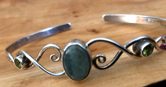 Sterling Silver Cuff Bracelet Kyanite with Faceted Peridot