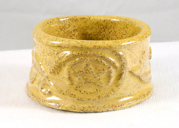 Yellow Pentacle Tea Lite Holder