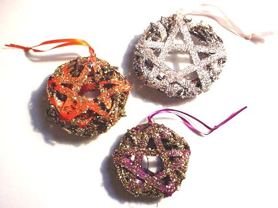 Mini Glitter Pentacle Wreath Ornaments