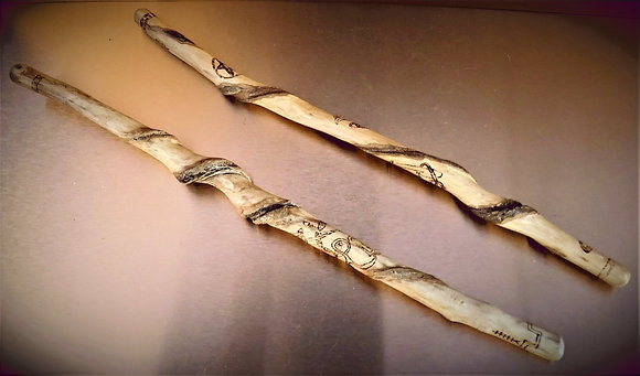 Traditional British Isle Spiraled Yew Wood Wand with Ogham Inscriptions