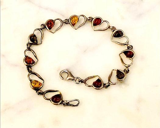 Baltic Amber Sterling Silver Hearts Bracelet