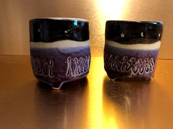 Stoneware Cosmic Votive Cups