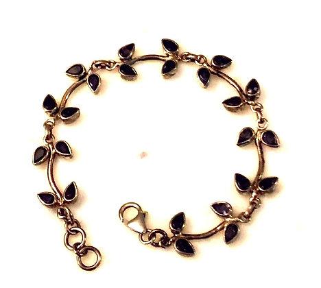 Faceted Iolite Sterling Silver Vine Bracelet