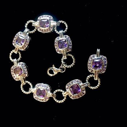 Faceted Amethyst Sterling Silver Bracelet