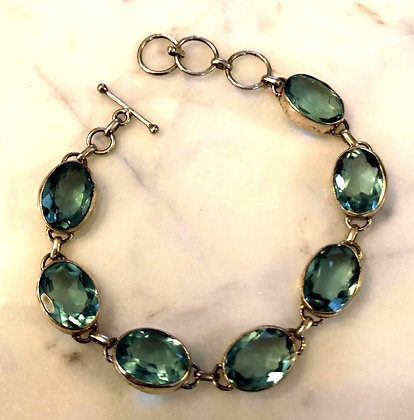 Faceted Apatite Sterling Silver Bracelet
