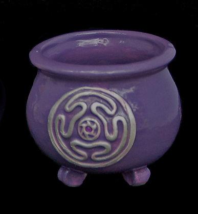Purple Gloss Amethyst Hecate Wheel Altar Cauldron