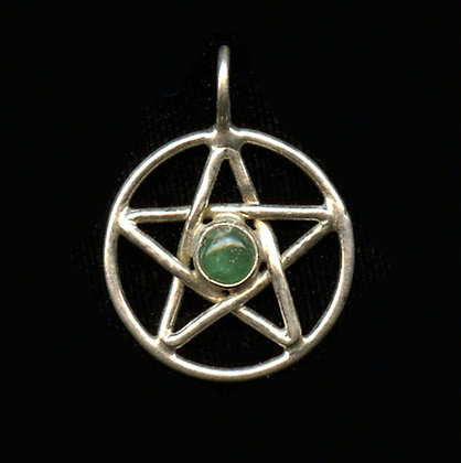 "S.Silver  1"" Hand Woven Pentacle Gemstone Pendant"