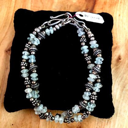 Set of two Aquamarine beaded bracelets