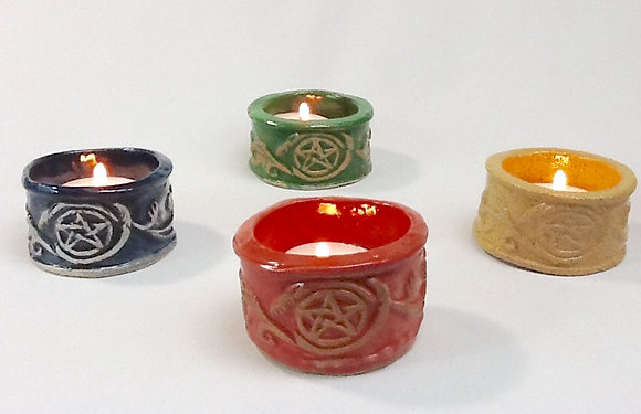 Elemental Pentacle Tea Light  Candle Holders Set