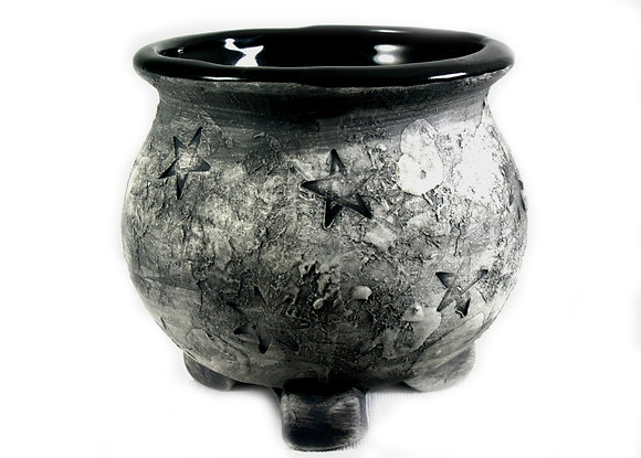 Weathered Stone Pentagram Altar Cauldron