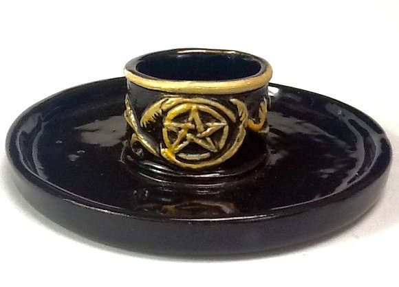 Pentacle Candle Holder Dish