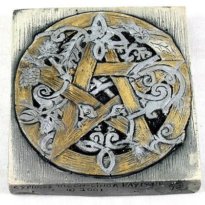Knotwork Vine Pentacle Plaque and Altar Tile