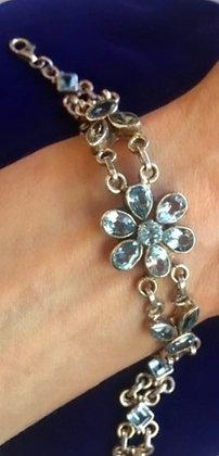 Faceted BlueTopaz Sterking Silver Bracelet