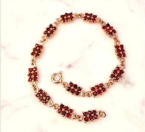 Faceted Garnet Rose Gold over Sterling Silver Bracelet
