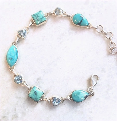 Turquoise with Faceted Blue Topaz Sterling Silver Bracelet