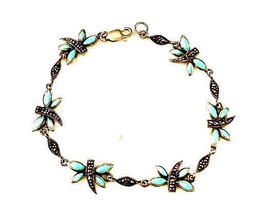 Turquoise Dragonfly Sterling Silver Bracelet with Marcasite