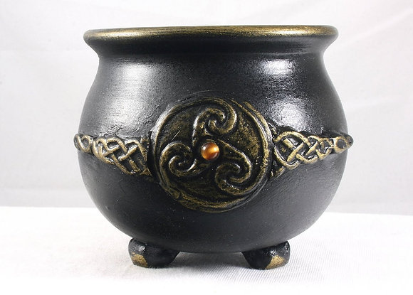 Black-Gold Knotwk. Triskellion Tiger Eye Cauldron