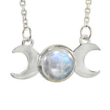 Triple Moon Goddess Sterling Silver Necklace