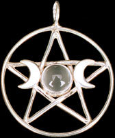 "Lg. 1.25"" Triple Goddess Magi Pentacle 8mm Gemstone"