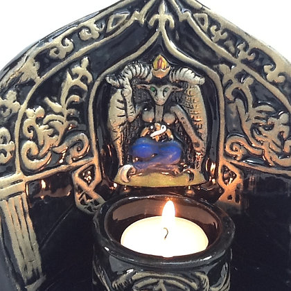 Baphomet Altar Shrine w. Tea Light Votive